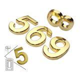 ป้ายตัวเลขชุบโลหะ, สีทอง, รูปแบบทันสมัย  ( สินค้ามีหลายขนาดสำหรับพร้อมจำหน่าย ) ---Modern House Plaque Mail Box Golden Numbers (Several Sizes Available)