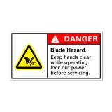 ป้ายเตือนป้องกันอุบัติเหตุ หรือป้ายเตือนอันตรายจากใบมีด โปรดระวังมือ ในระหว่างเครื่องจักรกำลังทำงานโปรดปิดสวิทช์การทำงานของเครื่องจักรก่อนทำการบำรุงรักษา หรือสอดมือเข้าสู่ตัวเครื่อง สินค้ามาพร้อมกาวใน