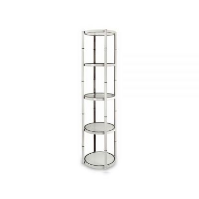 "81"" Round Portable Aluminum Spiral Tower Display Case with Shelves, Top Light and Clear Panels"